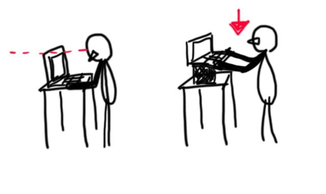 ノートパソコンでスタンディングデスクを使う